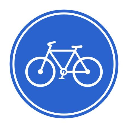 Bicycle lane, bicycle route, Blue bicycle lane sign. Vector illustration isolated on white background Illustration