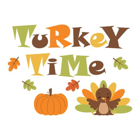 cute card of funny turkey and pumpkin isolated on white background, vector illustration of Thanksgiving day Illustration
