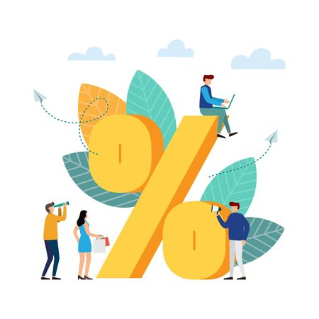 Percent sign, people stand near a percent. Specials, sales, price cuts, rate reduction. Vector illustration Illustration