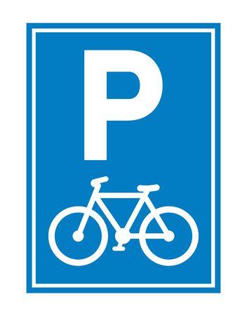 Road sign. Bicycle parking. Parking regulation symbol. Vector illustration