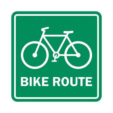 Bike route sign on white. Vector illustration.