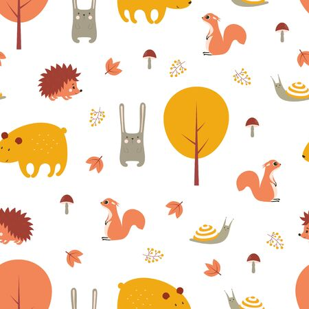 autumn forest seamless pattern with cute animals, print with bear, hedgehog, snail, hare and squirrel