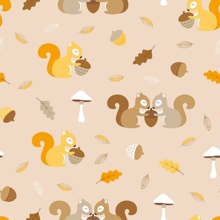seamless pattern with colored squirrels, mushroom and acorns, cute vector illustartion, simple desing