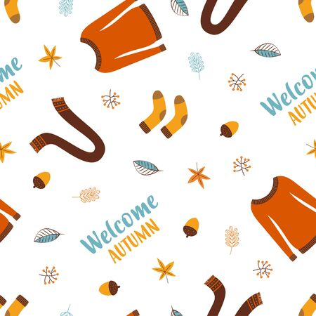 autumn seamless pattern with brown sweater, falling leaves, scarf, soks, acorn and hand written text welcome autumn, bright background for fall season, cute print with autumn lettering