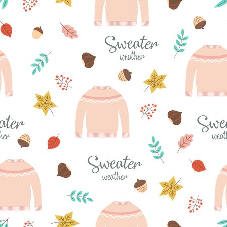 autumn seamless pattern with pink sweater, falling leaves, branches, acorn, nut and hand written text sweater weather, bright background for fall season, cute print with autumn lettering