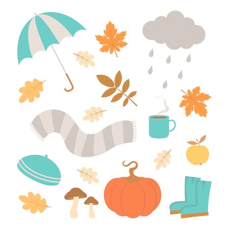vector set of autumn icons, falling leaves, cup coffe, pumpkin, wellies, mushroom, cap, scarf and cloud, autumn greeting card Illustration