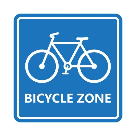 Bicycle zone sign on blue rectangle background. Vector illustration.