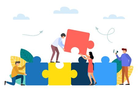Joint teamwork and support concept, people push details of puzzles. Team building. Vector illustration
