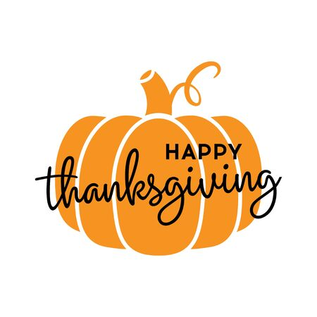 Happy Thanksgiving. Hand drawn calligraphy with pumpkin isolated on white background. Vector illustration.