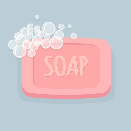 Pink bath soap with bubbles. Vector illustration Foto de archivo - 132642750