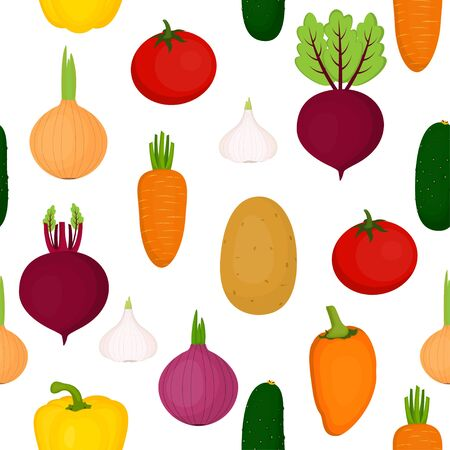 Colorful vegetables seamless pattern. Vegetables set: cucumber, carrot, tomato, beetroot, potato garlic and onion Vector illustration
