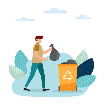 Raccolta differenziata. Rifiuti di separazione per ridurre l'inquinamento ambientale. L'uomo e la donna raccolgono immondizia. Illustrazione vettoriale.