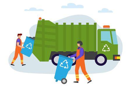 직장에서 쓰레기 남자입니다. 도시 폐기물 제거 서비스를 위한 트럭입니다. 폐기물 재활용. 쓰레기의 수집, 분류 및 운송 과정. 벡터 일러스트 레이 션. 사람들은 쓰레기를 수집