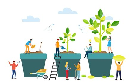 Growth metaphor, grow stages of tree from seed to large plant. Life Cycle. People are watering plants in pots. Vector illustration
