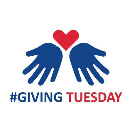 Giving Tuesday. Helping hand with heart shape. Global day of charitable giving. Vector illustration. Иллюстрация