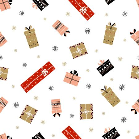 christmas gift boxes with lettering warm wishes in flat style, new year illustration for greeting card, poster, banner, seamless pattern 向量圖像