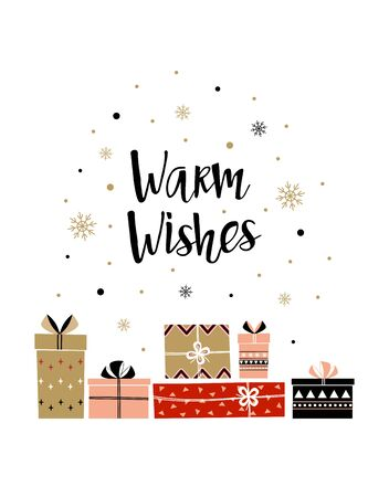 christmas gift boxes with lettering warm wishes in flat style, new year illustration for greeting card, poster, banner