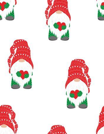 winter christmas pattern of cute gnome with red heart on white background, flat design, scandinavian style Illustration