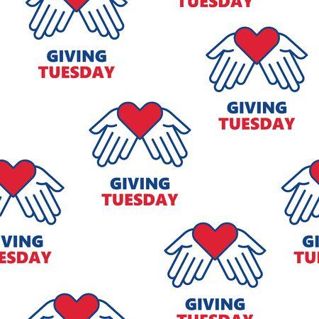Patrón transparente de vector. Dando martes. Ayudar a la mano con forma de corazón. Día mundial de donaciones caritativas.