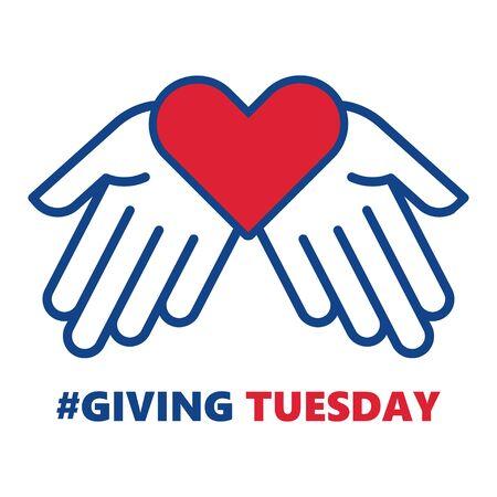 Donner mardi. Coup de main en forme de coeur. Journée mondiale des dons caritatifs. Illustration vectorielle.