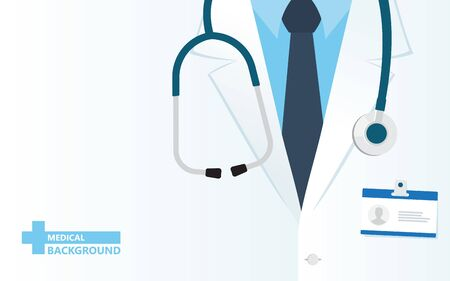 Medical background. Doctor close up with stethoscope. Online doctor concept. Vector illustration