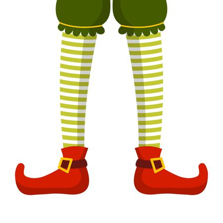 Christmas Elf legs in striped tights and boots. Pixie, Santa Claus helper, elfin cartoon character. Vector illustration isolated on white background.