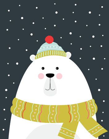 winter greeting card with cute bear in scarf and hat isolated on snow background, christmas poster 일러스트