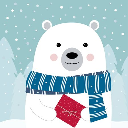winter greeting card of cute bear in scarf with gift isolated on snow and christmas tree background, holiday poster