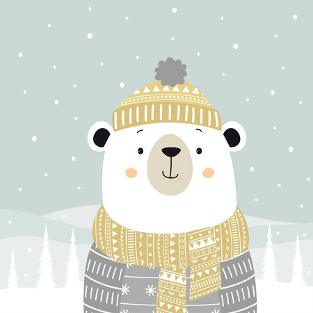 winter greeting card with cute bear in sweater, scarf and hat isolated on snow and christmas trees background, holiday poster