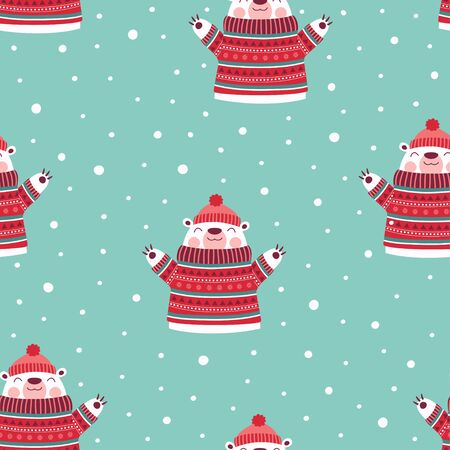 winter seamless pattern with cute bear in sweater and hat isolated on snow background, christmas print 일러스트
