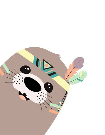 illustration with cute tribal seal isolated on white background, greeting card with cartoon animal in scandinavian tribal style, print for any design Ilustracja