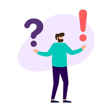 Concept of frequently asked questions of exclamation marks and question marks, metaphor question answer. Vector illustration. Stock Illustratie