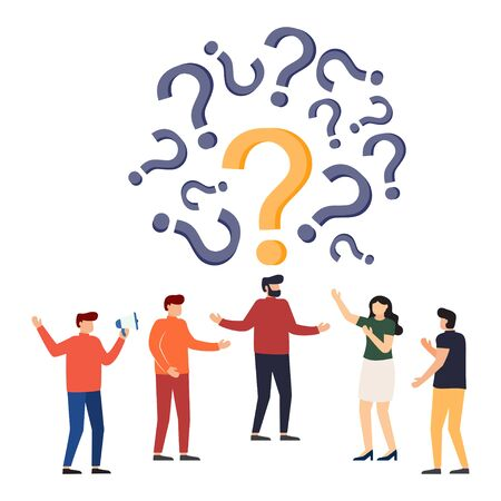 People frequently asked questions around question marks. Question answer metaphor. Vector illustration.