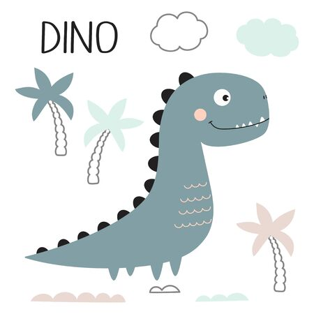 greeting card of cute dinosaur, palms, clouds and lettering dino isolated on white background, little dinosaur vector illustration for kids fashion 일러스트