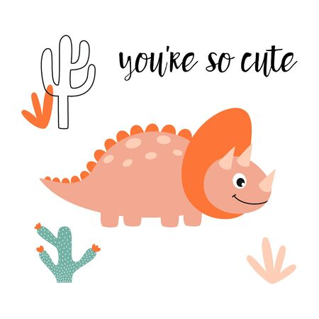 greeting card of sweet dinosaur, cactus, plants and lettering you are so cute isolated on white background, little dinosaur vector illustration for kids fashion