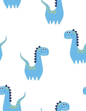 seamless pattern of cute dinosaur isolated on white background, little dinosaur vector illustration for kids fashion