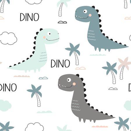 seamless pattern of cute dinosaur, palms, clouds and lettering dino isolated on white background, little dinosaurs vector illustration for kids fashion 일러스트