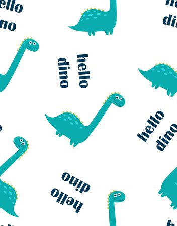seamless pattern of cute dinosaur and lettering hello dino isolated on white background, little dinosaur vector illustration for kids fashion 일러스트