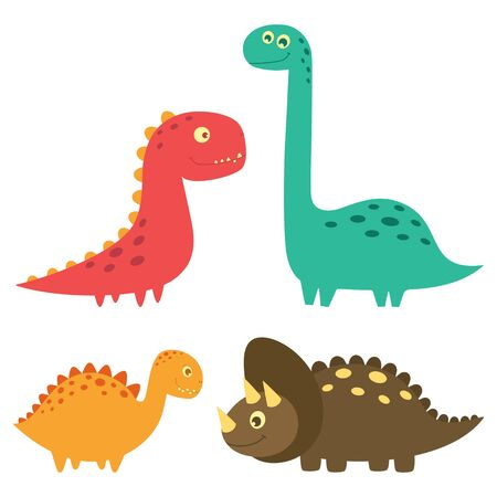 set of cute dinosaurs isolated on white background, little dinosaurs vector illustration for kids fashion
