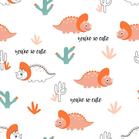 seamless pattern of sweet dinosaur, cactus, plants and lettering you are so cute isolated on white background, little dinosaur vector illustration for kids fashion