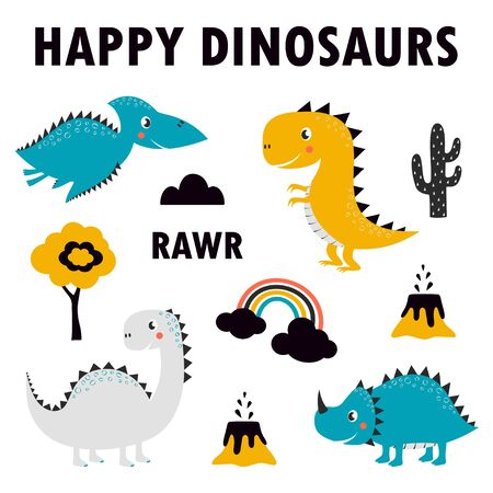 set of cute dinosaurs isolated on white background, little dinosaurs vector illustration for kids fashion, simple scandinavian child design
