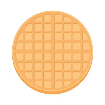 Belgium round waffle in flat style. Breakfast food. Vector illustration isolated on white background. Vektoros illusztráció