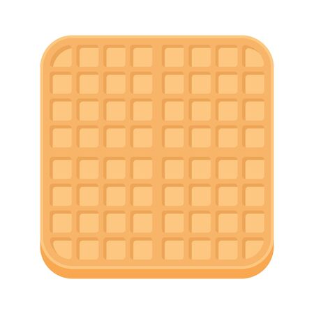Belgium square waffle in flat style. Breakfast food. Vector illustration isolated on white background.