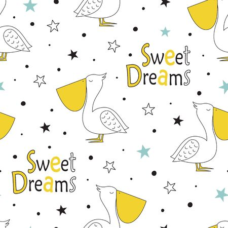 hand drawn cute pelican doodle illustration with lettering sweet dreams and stars, cute summer time seamless pattern
