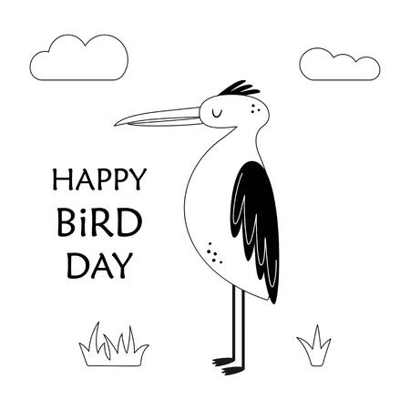 card with cute heron, lettering happy bird day, clouds and plants, vector illustration in scandinavian style on white background, print for children Çizim