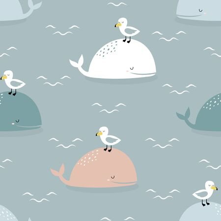 seamless pattern of cartoon whale, seagull and lettering do not worry, be happy on blue background, whale vector illustration in scandinavian style