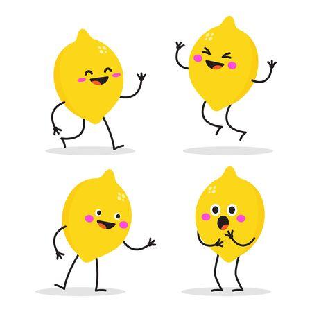 Happy lemon characters. Cute fruit vector character set. Vector illustration isolated on white background. Ilustracje wektorowe