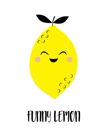 illustration with cartoon fruit and lettering funny lemon, banner with lemon isolated on white background, fruit print