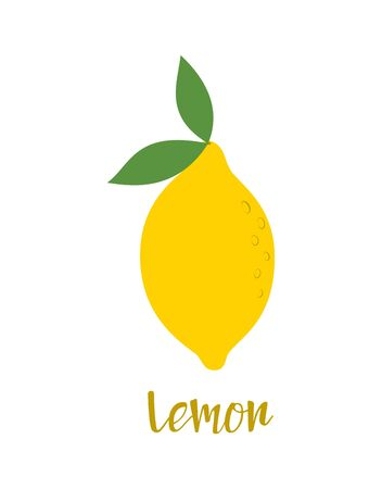 illustration with cartoon fruit and lettering lemon, banner with lemon isolated on white background, fruit print