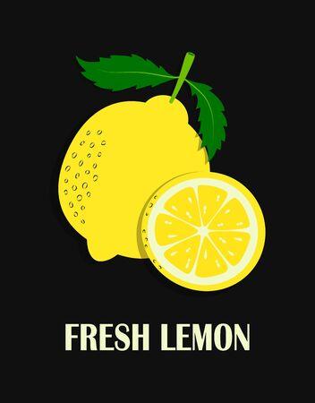 illustration with cartoon fruit and lettering fresh lemon, banner with whole lemon and slice isolated on black background, fruit print